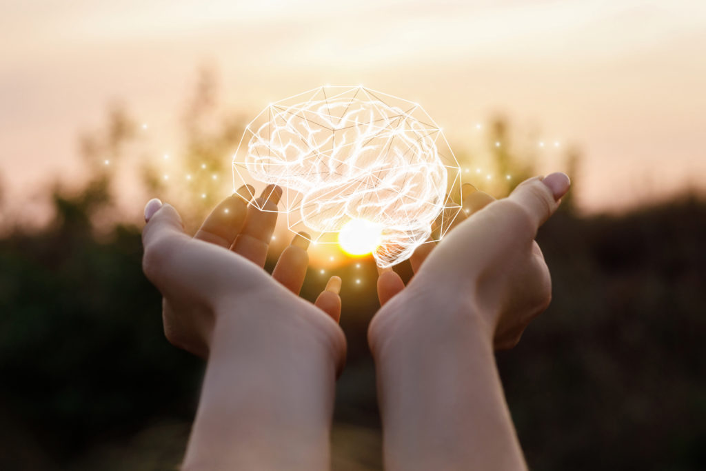Female hand shows the brain in the sun.